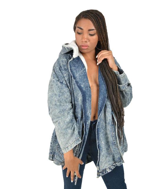 Μπουφάν Jeans μπλέ με αποσπώμενη λευκή γούνα ρούχα   πανωφόρια   denim jackets