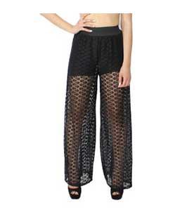 Παντελόνα ψηλόμεση μαύρη δανδέλα ρούχα   bottoms   παντελόνια