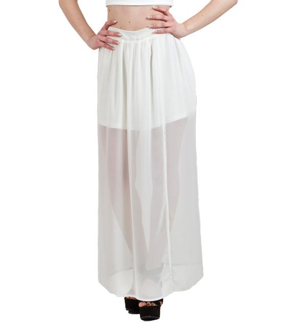 Μαξι φούστα διαφάνεια με σκισίματα εκρού ρούχα   bottoms   φούστες
