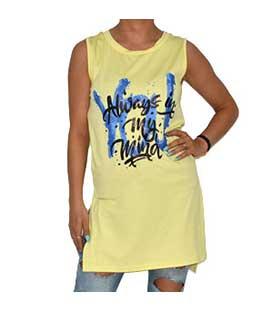 Μπλόυζα κίτρινη με σκισίματα στο πλάι ρούχα   μπλούζες   top   t shirt   αμάνικα