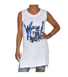 Μπλόυζα λευκή με σκισίματα στο πλάι ρούχα   μπλούζες   top   t shirt   αμάνικα