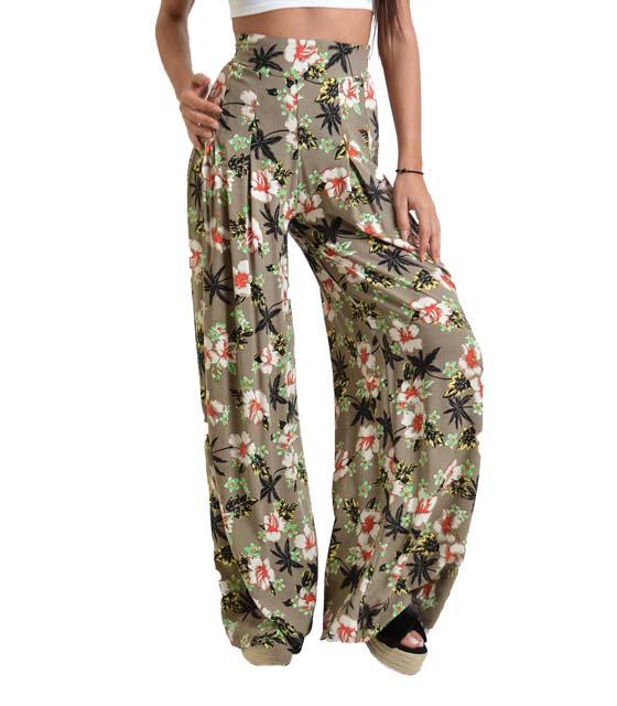 Παντελόνα εμπριμέ χακί home   ρούχα   bottoms   παντελόνια