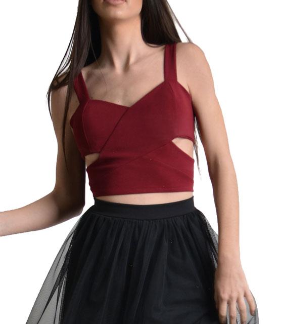 Μπούστο μπορντό με τιράντα ελαστικό ρούχα   μπλούζες   top   τοπάκια   μπουστάκια