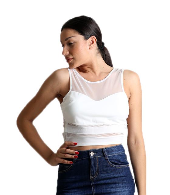 Τοπ με διαφάνειες λευκό ρούχα   μπλούζες   top   τοπάκια   μπουστάκια