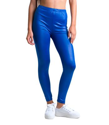 Ψηλόμεσο κολάν μεταλλικό μπλε ρούχα   bottoms   κολάν