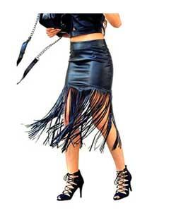 Φούστα midi δερματίνη με κρόσια ρούχα   bottoms   φούστες