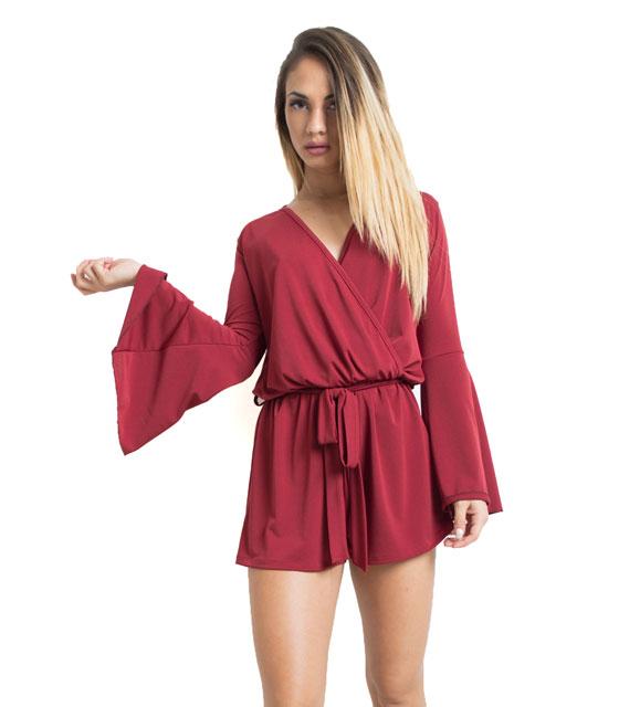 Ολόσωμη φόρμα σορτς με καμπάνα μανίκι - Μπορντό ρούχα   ολόσωμες φόρμες