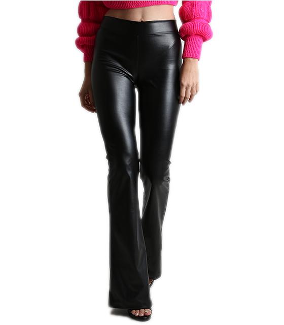 Παντελόνα καμπάνα δερματίνη μαύρο ρούχα   bottoms   παντελόνια
