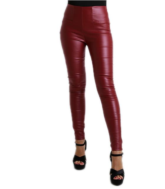 Παντελόνι μπορντό δερματίνη ψηλόμεσο ρούχα   bottoms   παντελόνια