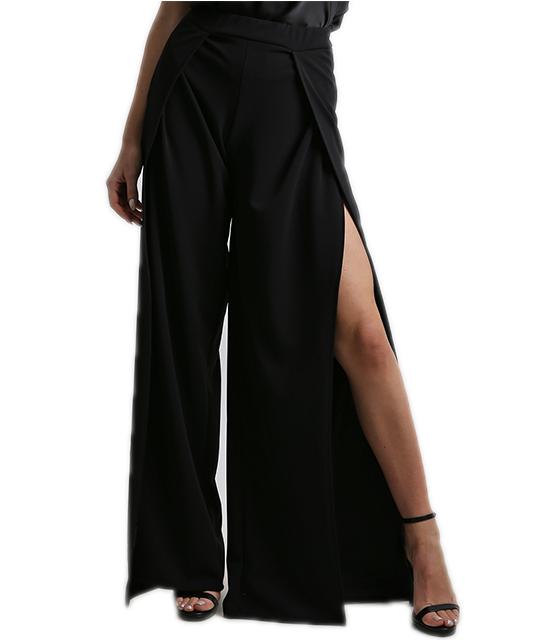 Παντελόνα με άνοιγμα μαύρη ρούχα   bottoms   παντελόνια