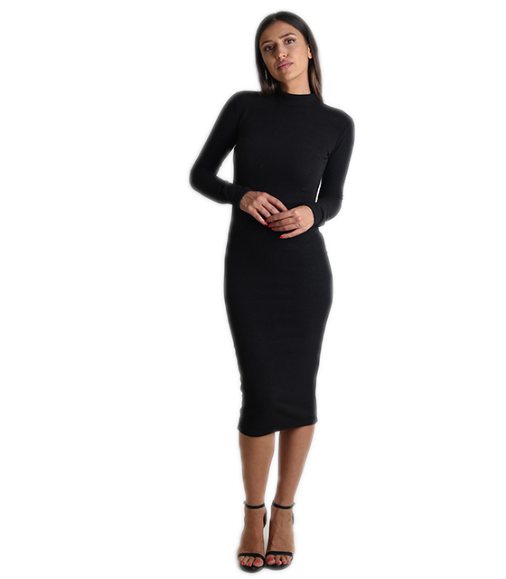 Midi πλεκτό φόρεμα ζιβάγκο (Μαύρο) ρούχα   φορέματα