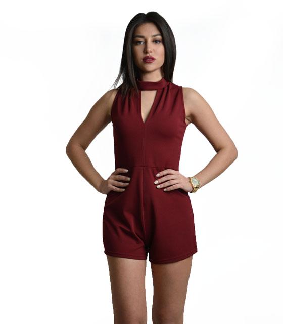 Ολόσωμη φόρμα σορτς ζιβάγκο μπορντό ρούχα   ολόσωμες φόρμες
