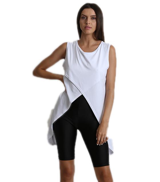 Μπλούζα αμάνικη με πλαινές μύτες λευκό ρούχα   μπλούζες   top   t shirt   αμάνικα