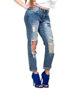 Jeans με σκισίματα και φθορές σκούρο μπλέ ρούχα   bottoms   τζιν