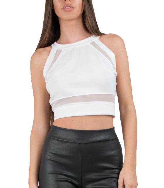 Μπλούζα με διαφάνειες μπροστά και πίσω λευκό ρούχα   μπλούζες   top   τοπάκια   μπουστάκια