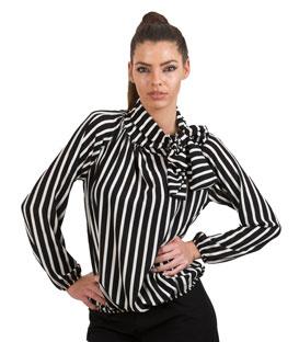Πουκάμισο ριγέ με δέσιμο στο λαιμό home   ρούχα   μπλούζες   top   πουκάμισα