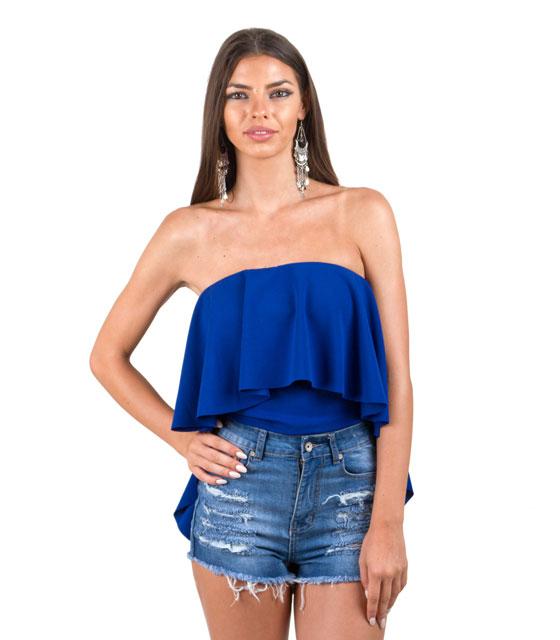 Τοπ Στράπλες Βολάν με Ουρά Μπλέ home   ρούχα   μπλούζες   top   τοπάκια   μπουστάκια