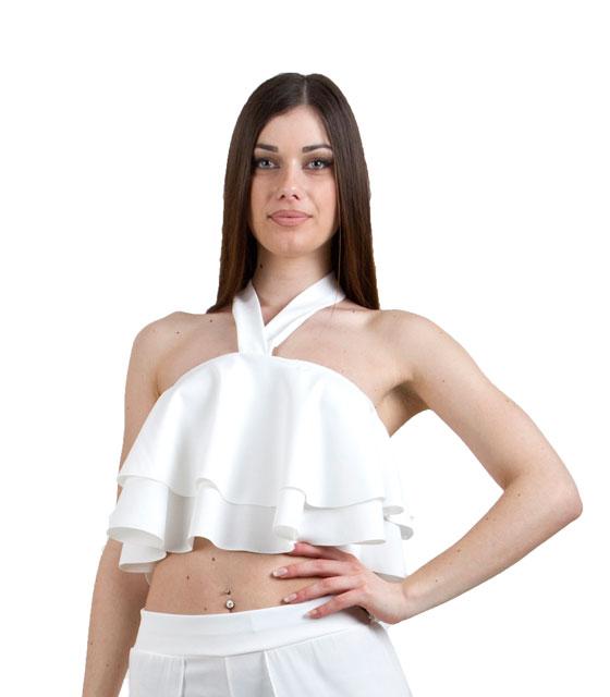 Τοπ Βολάν με Δέσιμο Λευκό ρούχα   μπλούζες   top   τοπάκια   μπουστάκια