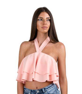 Τοπ Βολάν με Δέσιμο Ροζ ρούχα   μπλούζες   top   τοπάκια   μπουστάκια