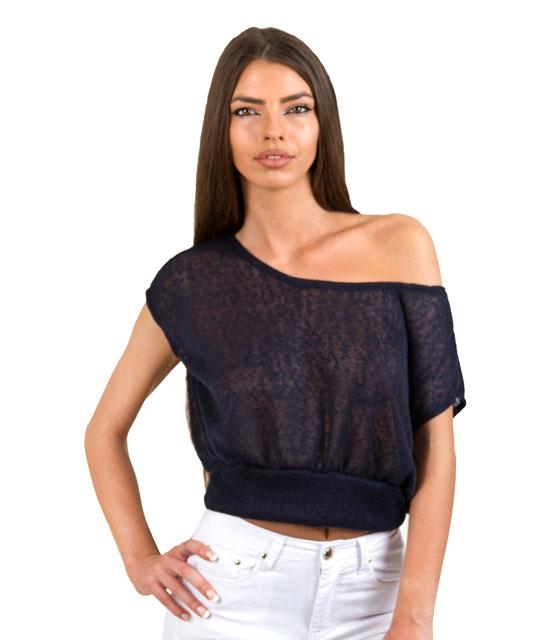Πλεκτό τοπ σκούρο μπλέ ρούχα   μπλούζες   top   τοπάκια   μπουστάκια