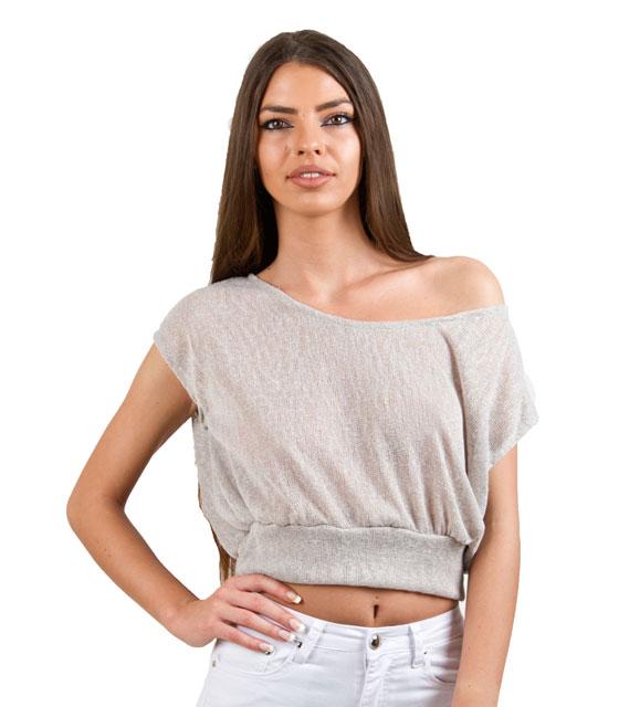 Πλεκτό τοπ γκρι ρούχα   μπλούζες   top   τοπάκια   μπουστάκια