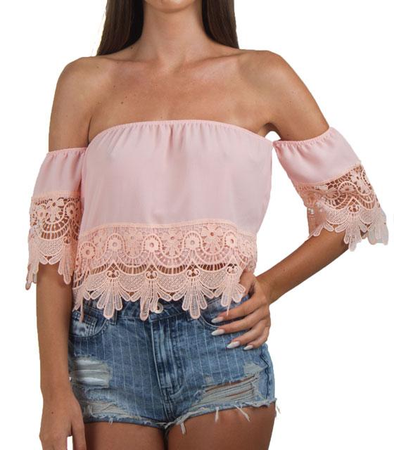 Στράπλες τοπ με τελείωμα δαντέλα Ροζ ρούχα   μπλούζες   top   τοπάκια   μπουστάκια