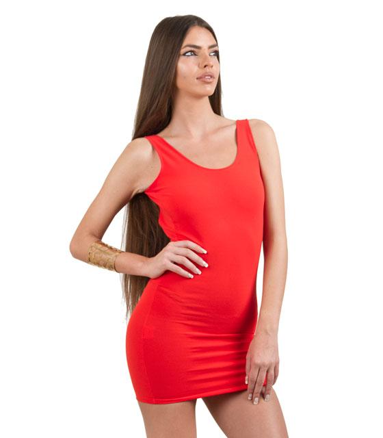 Mini Εφαρμοστό Φόρεμα τιράντα με ανοιχτή πλάτη (Κόκκινο) ρούχα   φορέματα
