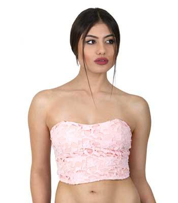 Στράπλες μπούστο δαντέλα ρόζ ρούχα   μπλούζες   top   τοπάκια   μπουστάκια