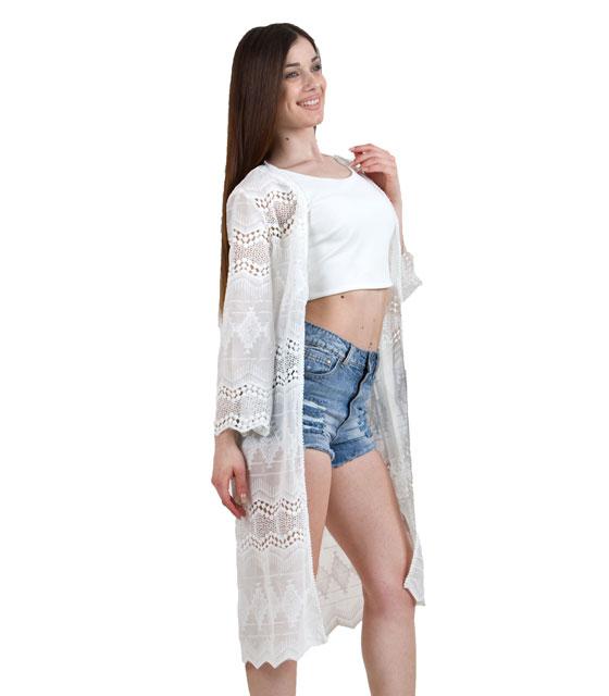 Μακριά ζακέτα με κέντημα λευκή ρούχα   μπλούζες   top   κιμονό