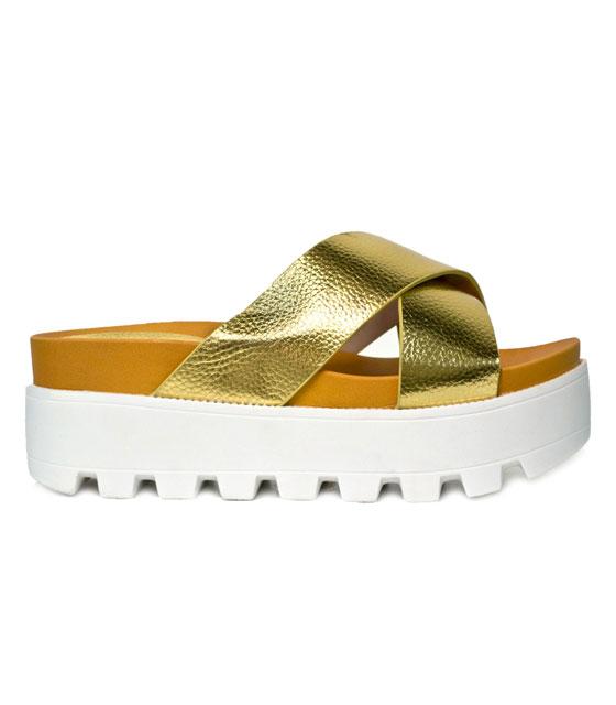 Δίπατη τρακτερωτή παντόφλα (χρυσό) παπούτσια   παντόφλες