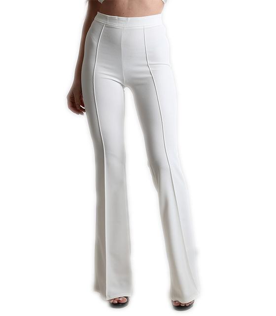 Ψηλόμεσο παντελόνι καμπάνα με τσάκιση λευκό ρούχα   bottoms   παντελόνια