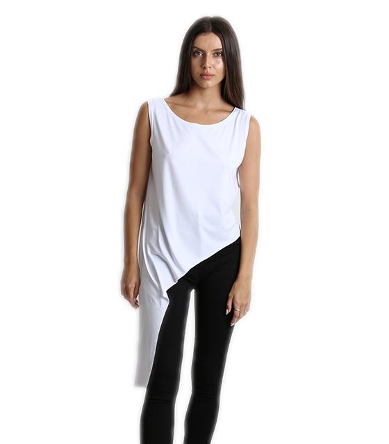 Ασύμμετρη μπλούζα λευκή ρούχα   μπλούζες   top   t shirt   αμάνικα