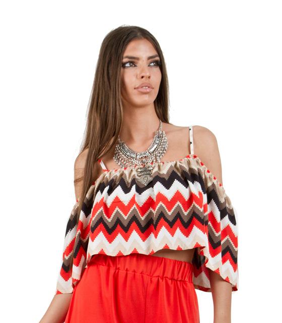 Τοπ με ανοιχτούς ώμους ψαροκόκκαλο κόκκινο ρούχα   μπλούζες   top   τοπάκια   μπουστάκια