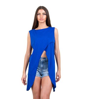 Μπλούζα αμάνικη με πλαινές μύτες μπλε ρούχα   μπλούζες   top   t shirt   αμάνικα