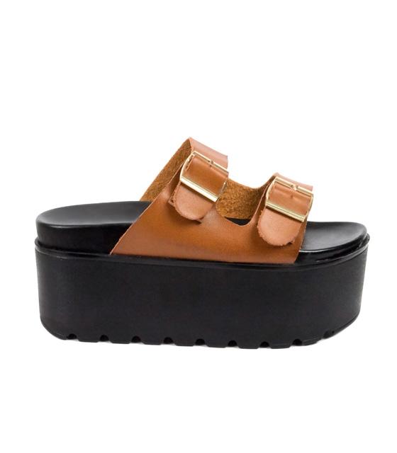 Τρίπατη τρακτερωτή παντόφλα μαύρη-κάμελ παπούτσια   παντόφλες