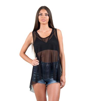 Αμάνικη μπλούζα δίχτυ μαύρο ρούχα   μπλούζες   top   t shirt   αμάνικα
