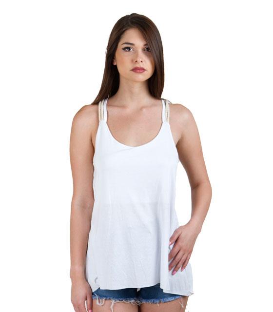 Μπλούζα με ράντα σχοινί και ανοιχτή πλάτη λευκή ρούχα   μπλούζες   top   t shirt   αμάνικα