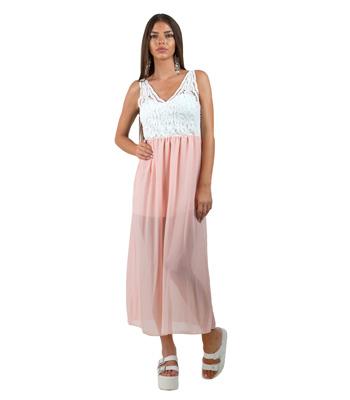 Μάξι φόρεμα κοραλί με λευκό τοπ δαντέλα ρούχα   φορέματα
