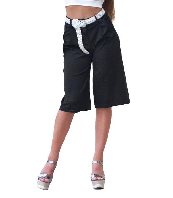Ψηλόμεση ζιπ κιλότ μαύρη ρούχα   bottoms   παντελόνια