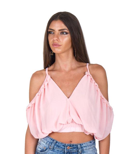 Τοπ με ανοιχτούς ώμους και άνοιγμα στην πλάτη (Ροζ) ρούχα   μπλούζες   top   τοπάκια   μπουστάκια