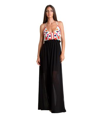 Εξώπλατο μάξι φόρεμα με μοτίβο λουλούδια (Μαύρο) ρούχα   φορέματα   μάξι φορέματα