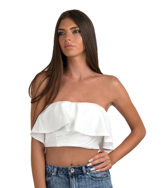 Τοπ βολάν λευκό ρούχα   μπλούζες   top   τοπάκια   μπουστάκια