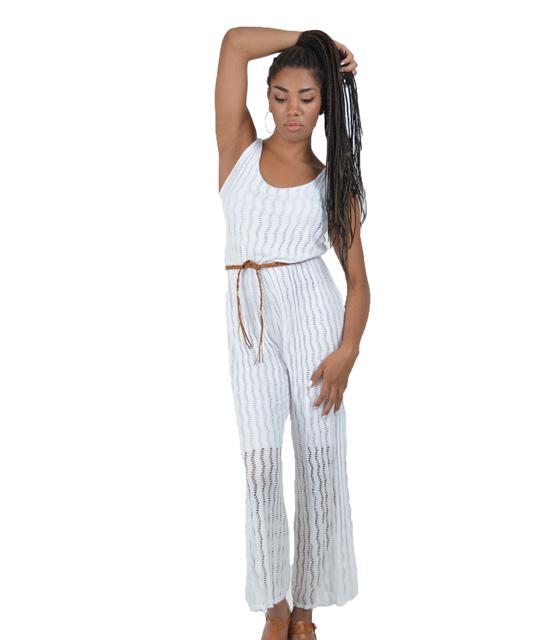 Ολόσωμη ζιπ κιλότ Λευκή (με ζώνη) ρούχα   ολόσωμες φόρμες