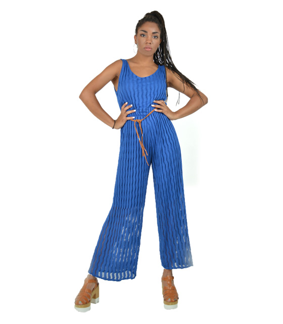 Ολόσωμη ζιπ κιλότ Μπλε (με ζώνη) ρούχα   ολόσωμες φόρμες