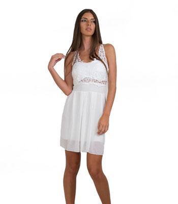 Φόρεμα με τόπ δαντέλα και χιαστή πλάτη (Λευκό) home   ρούχα   φορέματα