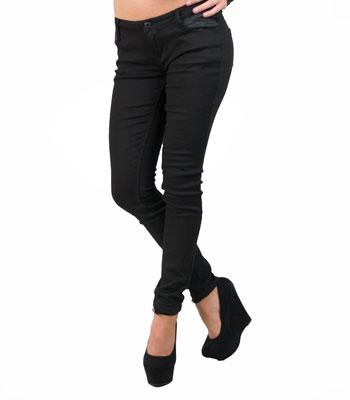 Μαύρο τζίν με λεπτομέρειες δερματίνη ρούχα   bottoms   τζιν