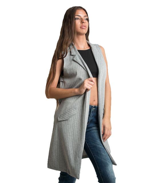 Αμάνικο γιλέκο σακάκι με ρίγες (Γκρι) ρούχα   πανωφόρια   σακάκια   παλτό
