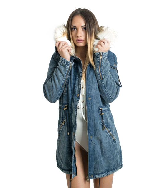 Jean μπουφάν με εσωτερική επένδυση γούνας home   ρούχα   πανωφόρια   denim jackets
