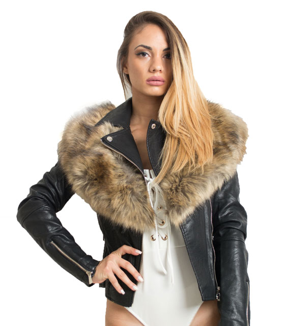 Jacket με καφέ γούνα ρούχα   πανωφόρια   jacket μπουφάν