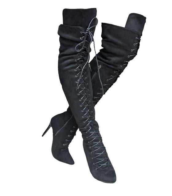 Ψηλή μπότα με κορδόνια και φερμουάρ Μαύρη home   παπούτσια   γυναικείες μπότες